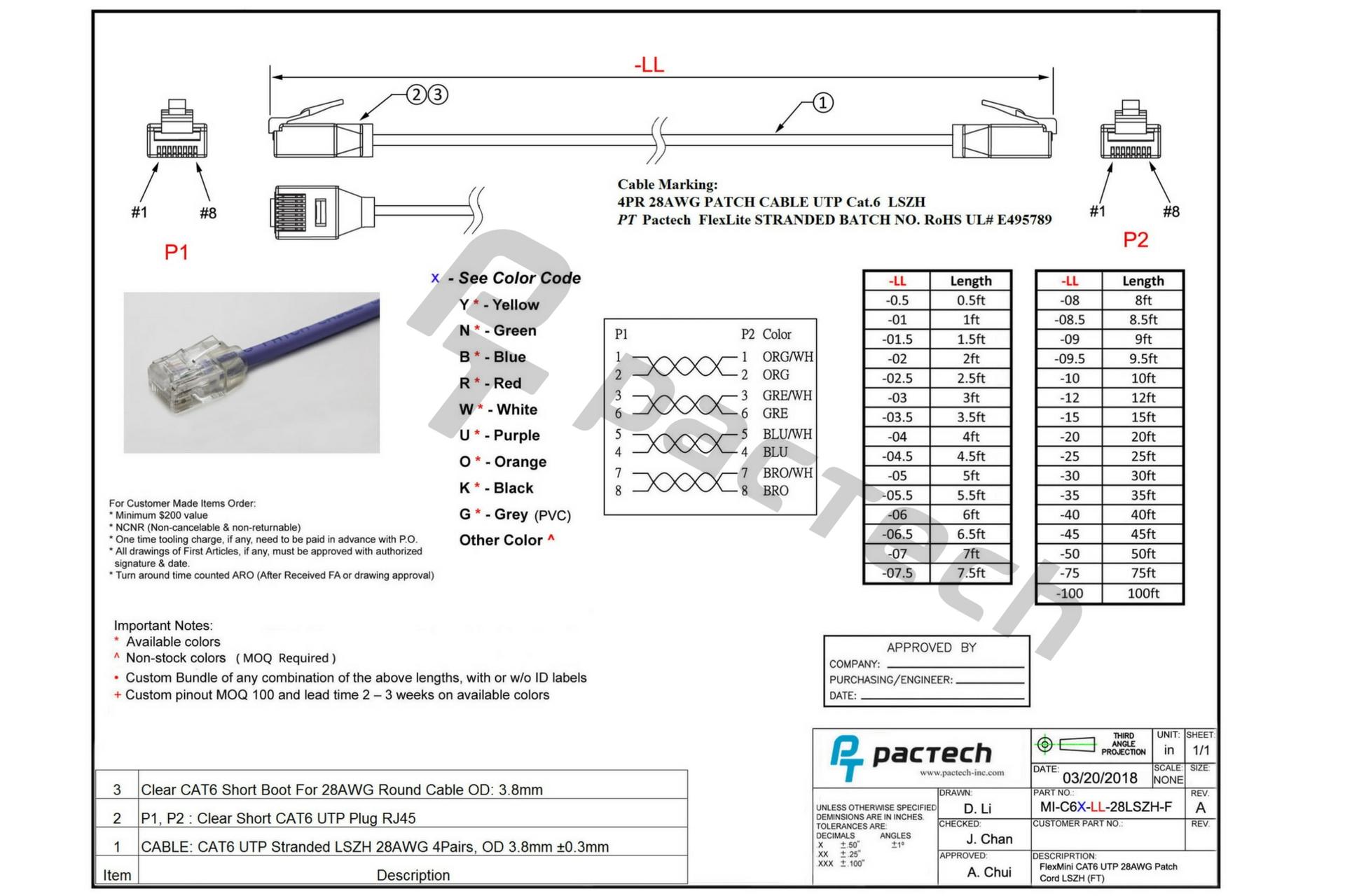 Flexlite Cat6 28AWG Cable UTP LSZH Black 4ft